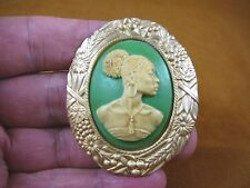 (CA20-2) RARE African American LADY green + ivory oval CAMEO Pin Pendant JEWELRY