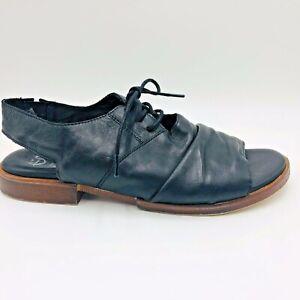 Eos Sz 40W Liddy Black Leather Peep Toe Slingback Low Heel Sandals Made Portugal