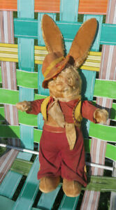 """Vintage 22"""" Stuffed Plush Easter Bunny Rabbit Clear & Red Eyes Vest & Hat"""