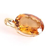 Large Citrine 15*20mm Pendant Enhancer Oval Cut 14k Yellow Solid Gold