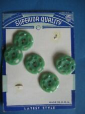 """Vintage Green 2 Hole Buttons NOS Superior Quality Brand 7/8""""  3 on card 2 Loose"""
