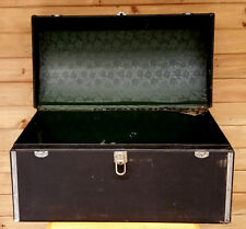 Antique Auto Wood Cargo Trunk,Black Canvas Dome Top Car Chest w Lock, Alligator