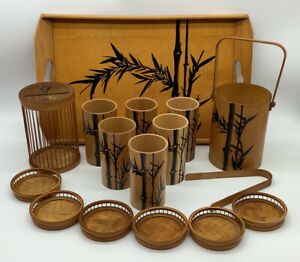vintage tiki bar bambo serving set. 6 glasses 1 ice bucket w/tongs Tray Coasters