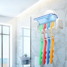Easy Toothbrush Suction Cups Holder Stand 5 Racks Home Bathroom Wall Mount GH