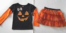 New NWT Girls size 4T lot outfit pumpkin Halloween top shirt tutu orange skirt