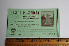 Old Business Card Stenger Monuments Grave Markers Rock of Ages St. Bernard, Ohio