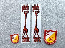 New S/&M Pitchfork BMX Fork Stickers Small /& Medium Shield Sticker Fork White