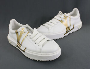 Louis Vuitton NWOB White Gold Leather Monogram Time Out Sneaker Shoe Size 37 7