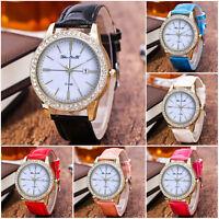 Women Men Luxury Diamond Crystal Watch Casual Leather Strap Quartz Wrist Watch