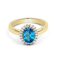 Anillos de joyería con gemas azul solitario oro amarillo