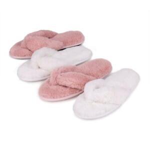 Isotoner Ladies Fluffy Toe Post Slippers