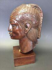 INCA WARRIOR By Artist A. Saravia Signed Peru Mahogany Wood Carving Statue 1960s