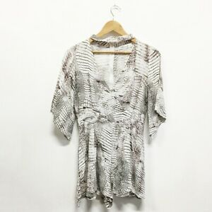 Miracle Snake Print Short Jumpsuit Playsuit Romper Grey White Black Size 8 10 S