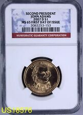 02 JOHN ADAMS 2007-D (A) NGC MS-65 2nd PRESIDENT First Day of Issue