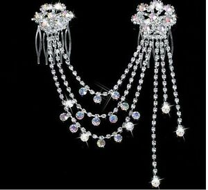 Wedding Bridal Crystal Hair Pins Comb Headband Head Chain Silver Flower Gift