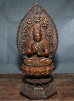 """11 """"Chine Religion Buis Sculpté Lotus Guanyin Bodhisattva rétro-éclairage Statue"""
