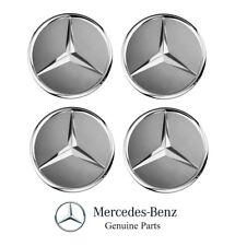 Set of 4 Genuine Mercedes Benz Himalaya Grey with Chrome Star Wheel Insert Caps