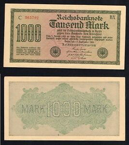 Germania 1000 mark Reichsbanknote 1922 SUP+/AU+  A-05