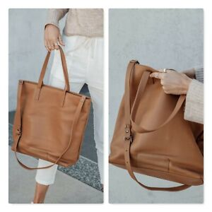 STATUS ANXIETY |  Womens Fire on The Vine Large Tan Leather Bag / Handbag