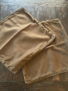 """Pair Of 2 West Elm 18X18"""" Linen And Suede-like Covers Brown"""