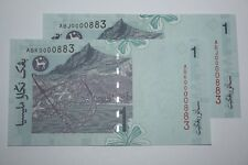 (PL) RM 1 0000883 UNC 2 PCS 4 ZERO RARE NICE FANCY LOW & LUCKY NUMBER PAPER NOTE