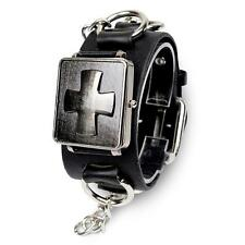 Punk Cross Retro Gothic Men's Wristwatch Black Leather Watch Bracelet Xmas Gift