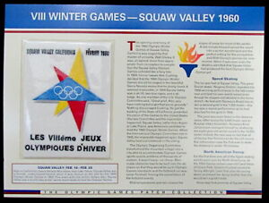 1960 WINTER OLYMPICS VIII Squaw Valley OLYMPIC GAMES PATCH CARD Willabee & Ward