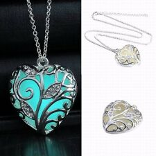 Glow In The Dark Luminous Vintage Hollow Necklace Silver Color  Heart Pendant