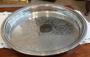 """Lge Vintage Oneida 13"""" Round Silver Plated Chased Gallery Tray Piecrust Rim"""