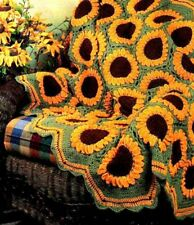 Sunflower Design CROCHET Pattern copy Blanket Rug Throw
