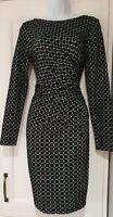 Womens Phase Eight Black White Spot Draped Gathered Stretch Wrap Bodycon Dress10