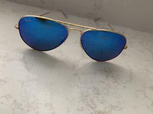 Ray Ban Aviator RB 3025 112 17 58[]14 3N Blue Mirrored Lens Sunglasses