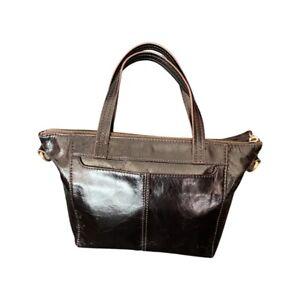 HOBO INTERNATIONAL SMALL BLACK GLAZE LEATHER  BAG HANDBAG EUC