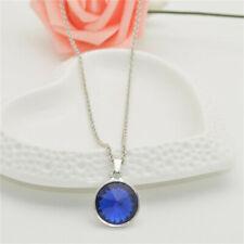 Women Jewelry Crystal Rhinestone sapphire Square Charm Silver Pendant Necklace