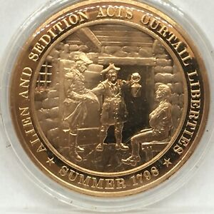 Franklin Mint American History series~1798 Allen & Sedition Acts Curtail Lib