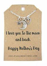 Le madri giorno I LOVE YOU to the Moon & Indietro HEART Moon messaggio CARD Collana NUOVO
