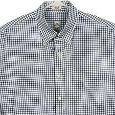 Men Peter Millar Crown Shirt Large Long Sleeve Plaid Striped White Blue