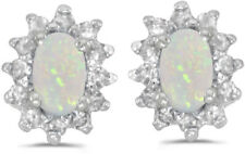 14k White Gold Oval Opal And Diamond Earrings (CM-E6410XW-10)