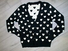 HEART KNIT SWEATER WOMENS BLACK WHITE THE LIMITED REVERSIBLE CARDIGAN SIZE LARGE