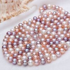 Fashion Women's Natural 7-8MM Multicolor Freshwater Pearl Necklace 31'' Long AAA