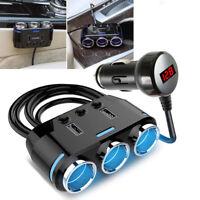 3 way Cigarette Lighter Socket Splitter 12V Dual USB Charger Power Adapter Car