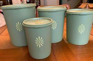 4 Vintage Tupperware Avocado Green Servalier Nesting Canisters  W Lids Sunburst
