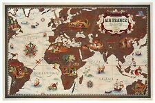 Air France Map of the World, Europe, Africa, Asia etc., Plane -- Modern Postcard