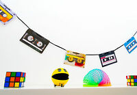 70s 80s 90s Party Decoration - Retro Cassette Tape Bunting - 160cm