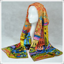 "Oblong 100% Charmeuse Silk Scarf  Art Wassily Kandinsky's ""Houses in Munich"""