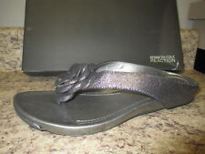 "Kenneth Cole Reaction ""Flower Park"" Thong Sandal 6 M Pewter Leather New with Box"