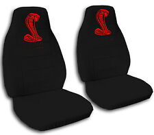 AF  Black with Red Cobra design  94-04 Ford Mustang front set car seat covers