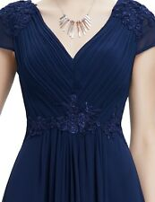 Ever Pretty V Neck Cap Sleeve Cocktail Dress Ball Prom Long Sapphire Blue UK 8