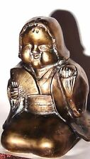 VINTAGE CHINESE BRONZE SAXY WOMAN STATUE EROTIC ART