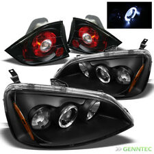 For 01-03 Honda Civic 2 Door Halo Projector Headlights+Tail Lights Lamp Pair
